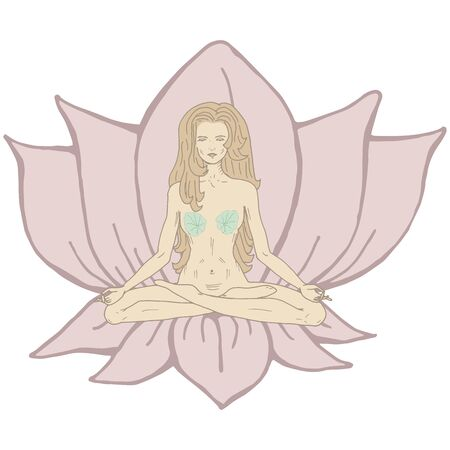 Hand drawn monochrome yoga girl in lotus pose on lotus flower blossoming and leaf vector illustration