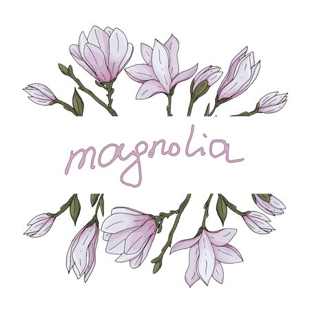 Hand drawn magnolia flower with branches and leaves with decoration and lettering for greeting card vector illustration