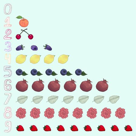 Table with hand drawn numbers and berries fruits leaves flowers, counting for children, math for kids illustration