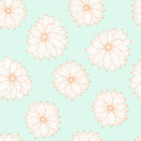 Seamless pattern, endless template of hand drawn flower gerbera vector illustration