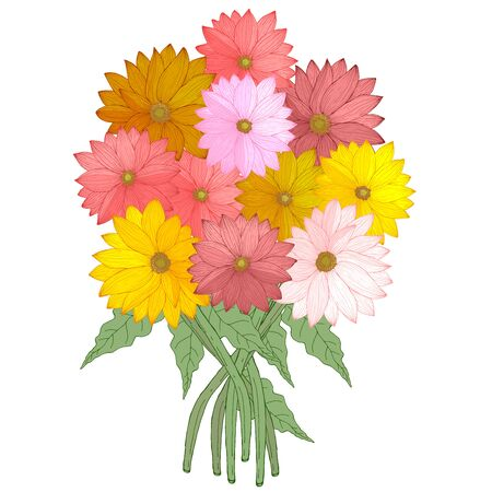 Bouquet of hand drawn daisies gerberas flowers colorful red pink yellow and green leaves vector illustration Ilustracja