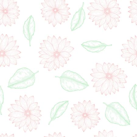 Floral seamless template endless pattern with hand drawn daisy flower gerberas marguerite and green leaves vector illustration Illustration