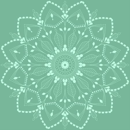 Green blue mandala with floral motif for greeting card vector illustration Çizim