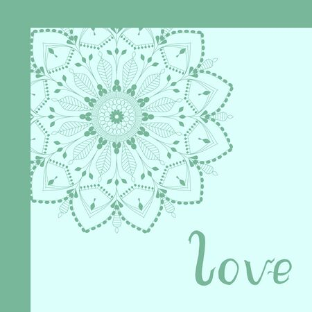 Green mandala with floral motif and hand written lettering word love greeting card vector illustration