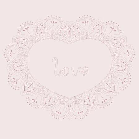 Pink lace heart with floral motif and hand written lettering word love greeting valentine card vector illustration