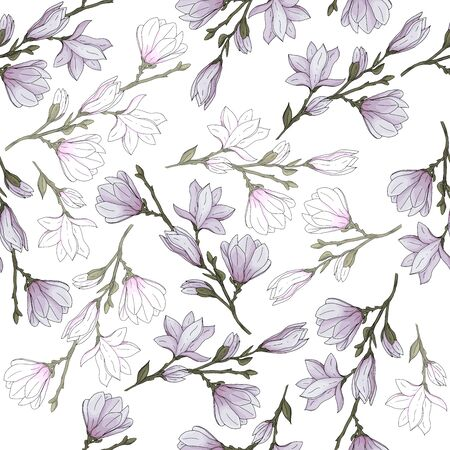 Seamless pattern endless template with hand drawn magnolia flower with branches and leaves for wallpapers textile texture vector illustration