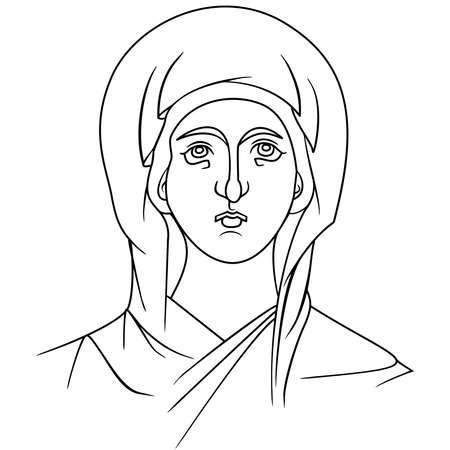 beautiful byzantine icon virgin deva divine outline art vector illustration mary madonna