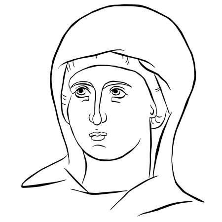 byzantine icon virgin deva divine outline art vector illustration mary madonna
