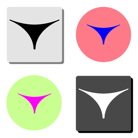 Women thong underwear. simple flat vector icon illustration on four different color backgrounds
