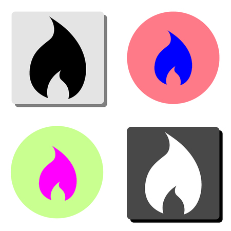 Fire flame. simple flat vector icon illustration on four different color backgrounds