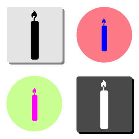 Candle. simple flat vector icon illustration on four different color backgrounds Illustration