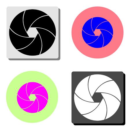 obturateur de la caméra. illustration simple d'icône de vecteur plat sur quatre arrière-plans de couleurs différentes