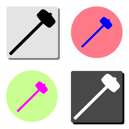 Sledge hammer. simple flat vector icon illustration on four different color backgrounds Çizim