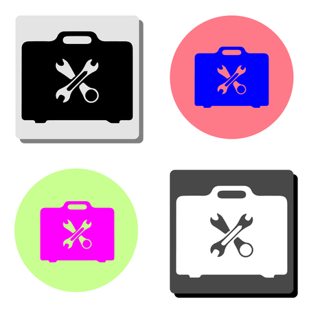 Toolbox. simple flat vector icon illustration on four different color backgrounds
