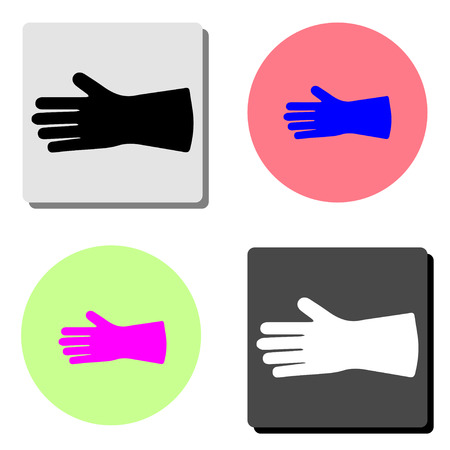 Safety hard construction glove. simple flat vector icon illustration on four different color backgrounds Illustration