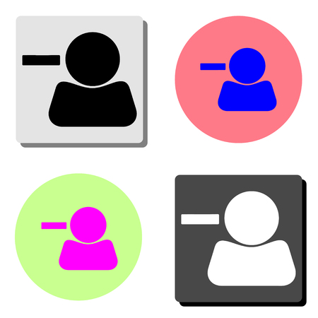 Remove contact. simple flat vector icon illustration on four different color backgrounds