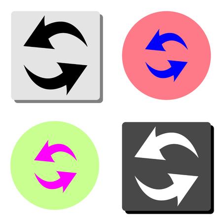 Refresh, Reload. simple flat vector icon illustration on four different color backgrounds Ilustração