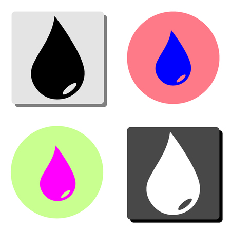Water drop. simple flat vector icon illustration on four different color backgrounds Illustration