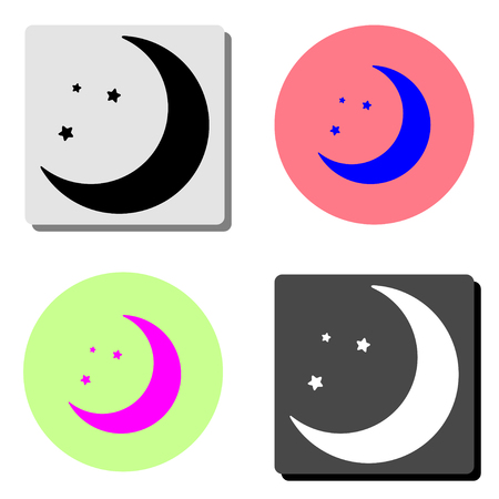 moon. simple flat vector icon illustration on four different color backgrounds