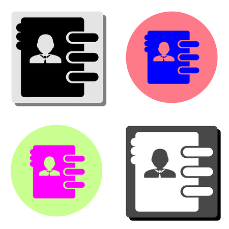 address book. simple flat vector icon illustration on four different color backgrounds