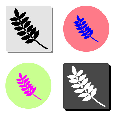 leaf. simple flat vector icon illustration on four different color backgrounds