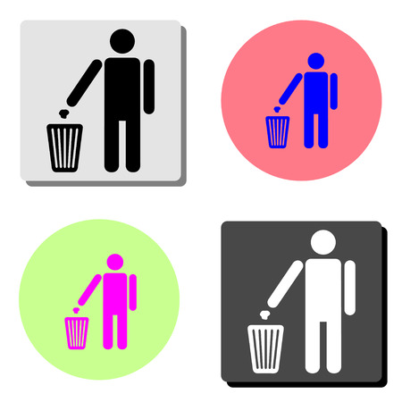 person throwing garbage. simple flat vector icon illustration on four different color backgrounds