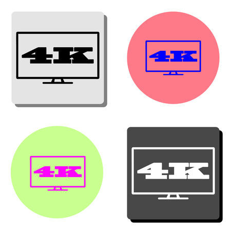 4k tv screen. simple flat vector icon illustration on four different color backgrounds