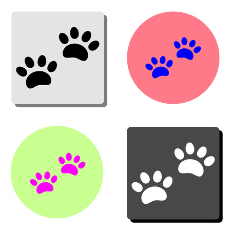 Paw Print. simple flat vector icon illustration on four different color backgrounds