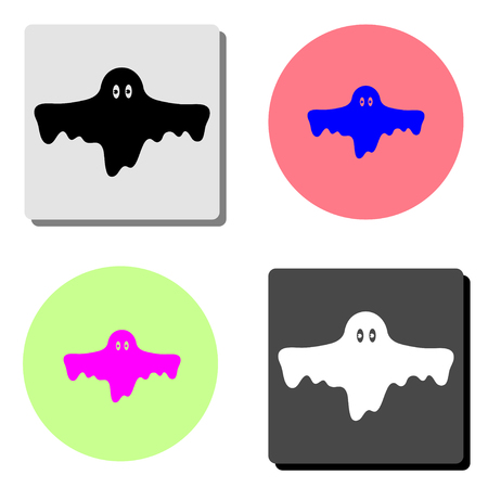 Ghost. simple flat vector icon illustration on four different color backgrounds
