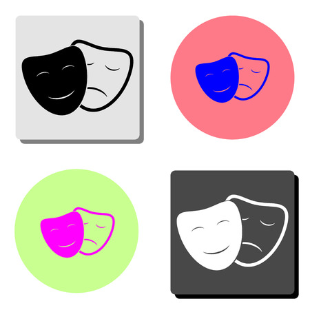 Theater masks. simple flat vector icon illustration on four different color backgrounds