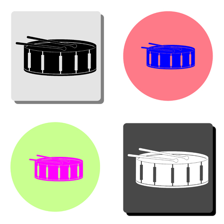 Drum. simple flat vector icon illustration on four different color backgrounds