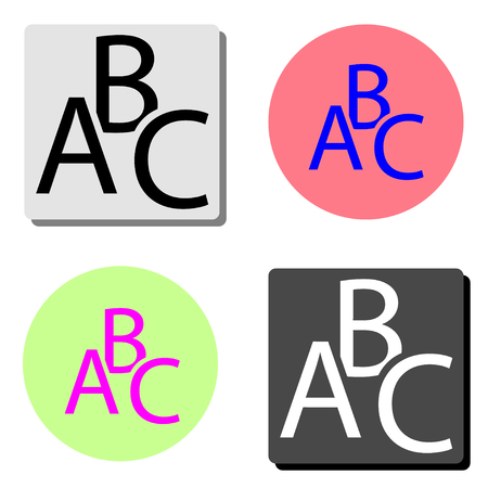 abc. simple flat vector icon illustration on four different color backgrounds