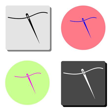 needle. simple flat vector icon illustration on four different color backgrounds Ilustração