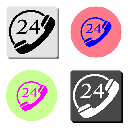 24 hour service. simple flat vector icon illustration on four different color backgrounds  イラスト・ベクター素材