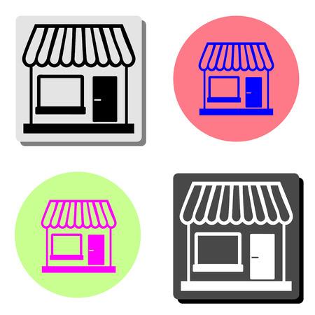Tienda. Ilustración de icono de vector plano simple en cuatro fondos de color diferentes Ilustración de vector