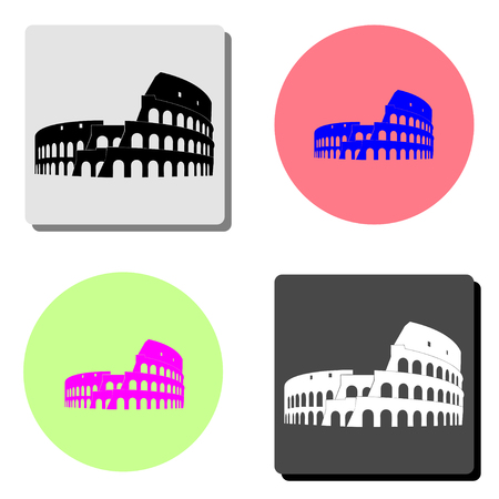 Coliseum in Rome. simple flat vector icon illustration on four different color backgrounds