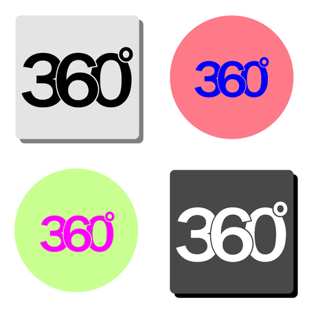 360 degrees. simple flat vector icon illustration on four different color backgrounds