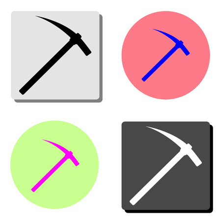 Pick axe. simple flat vector icon illustration on four different color backgrounds