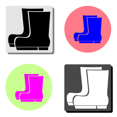 Boots. simple flat vector icon illustration on four different color backgrounds