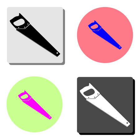 saw. simple flat vector icon illustration on four different color backgrounds Illustration