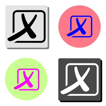Cross. simple flat vector icon illustration on four different color backgrounds