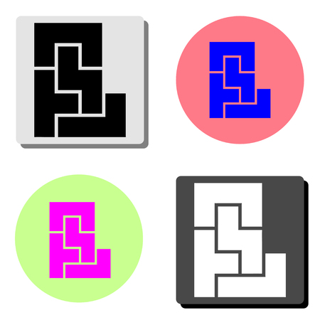 maze. simple flat vector icon illustration on four different color backgrounds