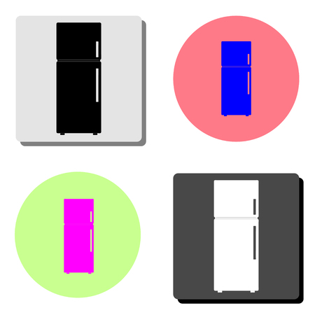 Refrigerator. simple flat vector icon illustration on four different color backgrounds