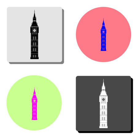 Big Ben. simple flat vector icon illustration on four different color backgrounds 向量圖像