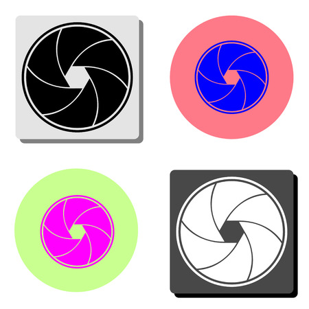 Aperture focus. simple flat vector icon illustration on four different color backgrounds