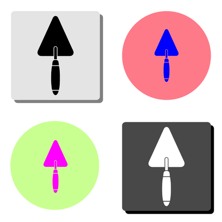 trowel. simple flat vector icon illustration on four different color backgrounds