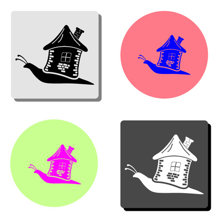 Snail with house. simple flat vector icon illustration on four different color backgrounds