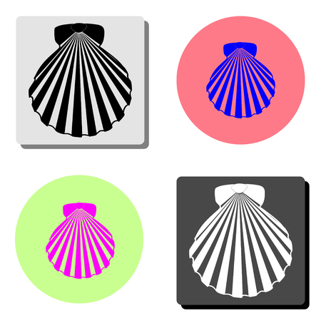 shell sea marine. simple flat vector icon illustration on four different color backgrounds