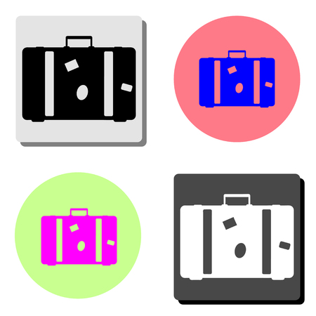 Suitcase. simple flat vector icon illustration on four different color backgrounds