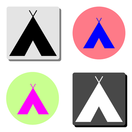 Indian tepee. simple flat vector icon illustration on four different color backgrounds Illustration
